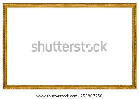Rectangular Gilded Frame Isolated on white background - stock photo