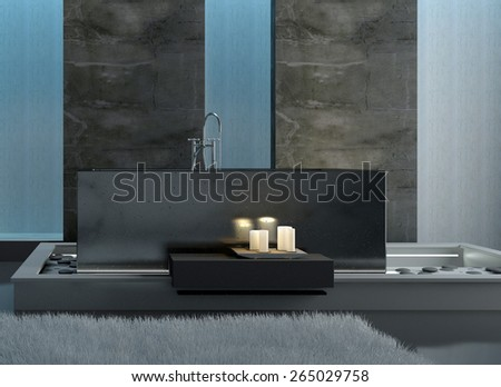 Rectangular Gray Bathtub with Lighted White Candles in Front in a Modern Architectural Home Bathroom. 3d Rendering.  - stock photo