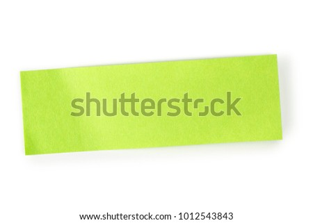 rectangular green note on white, detailed paper texture for messages or backgrounds