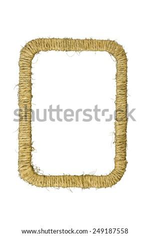 Rectangular photo frame braided jute yarn. Scrapbook. Isolated on white background. - stock photo