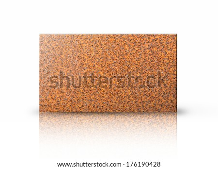 Rectangular placard of rust texture over white background. - stock photo