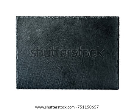 rectangular rough black slate board isolated on a white background