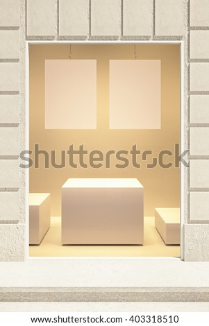 Rectangular showcase exterior with two blank posters and stand. Mock up, 3D Rendering - stock photo