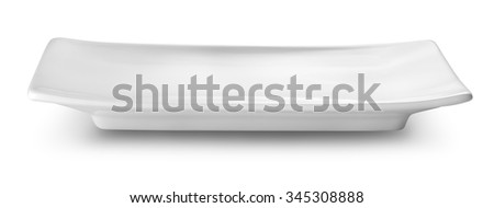 Rectangular white plate isolated on a white background - stock photo
