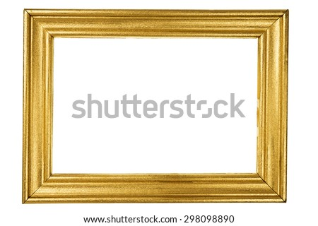 Rectangular wooden frame painted with gold isolated on white background