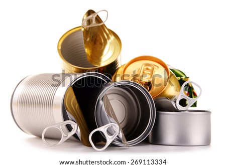 Recyclable garbage consisting of metal cans isolated on white background - stock photo