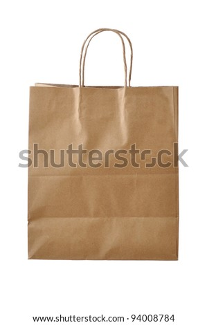 Recyclable paper bag isolated on white background
