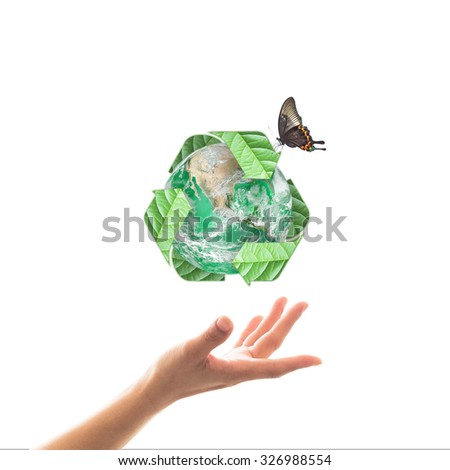 Recycle arrow sign leaf around green globe with butterfly over beautiful woman human hands isolated on white background: Recycle, reduce, reuse idea concept: Elements of this image furnished by NASA