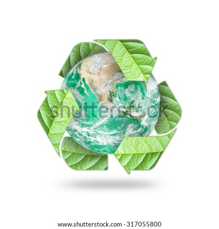 Recycle arrow symbol eco leaves protecting green planet: Reduce reuse recycle csr symbolic icon: Saving world environmental awareness campaign/ concept: Element of the image furnished by NASA      - stock photo