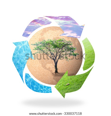 Recycle arrow symbol made of grass, water and sunset sky texture protecting brown earth globe of paper with big tree on white background. Recycle icon: Saving world environmental concept. - stock photo