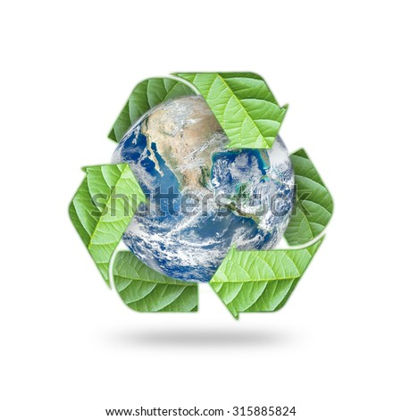 Recycle arrow symbol made of leaves protecting green planet: Reuse, recycle, reduce symbolic icon: Saving world environmental awareness campaign/ CSR concept: Elements of this image furnished by NASA  - stock photo