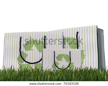 recycle bags on green grass isolated on white background