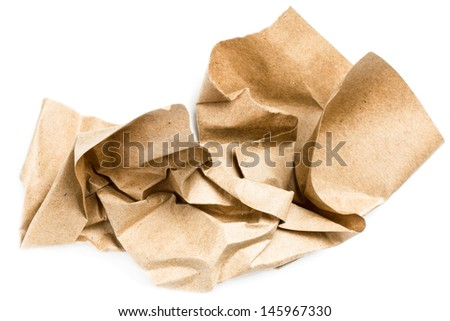 Recycle beige natural  crumpled vintage paper isolated on white background - stock photo