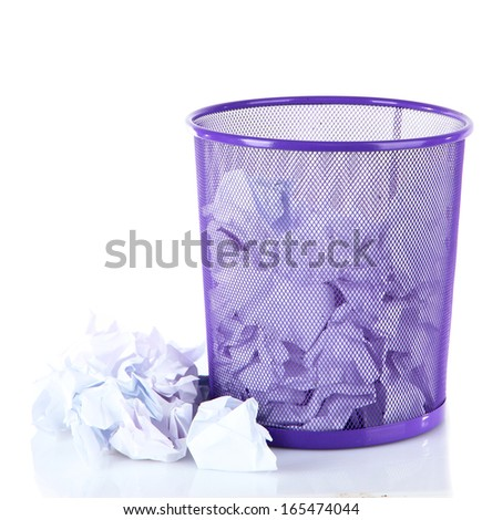 Recycle bin filled with crumpled papers, isolated on white - stock photo