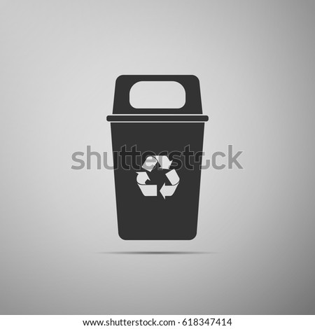 Recycle bin flat icon on grey background.