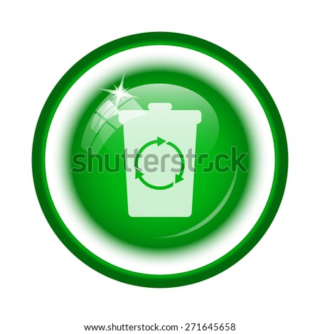 Recycle bin icon. Internet button on white background.  - stock photo