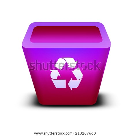 recycle bin Isolated on a white background - stock photo
