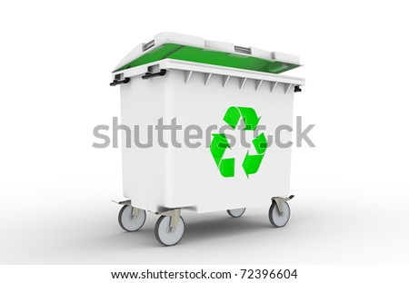 Recycle bin with green light inside, isolated on white.