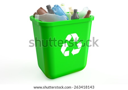 recycle bin with plastic bottles isolated on  white background