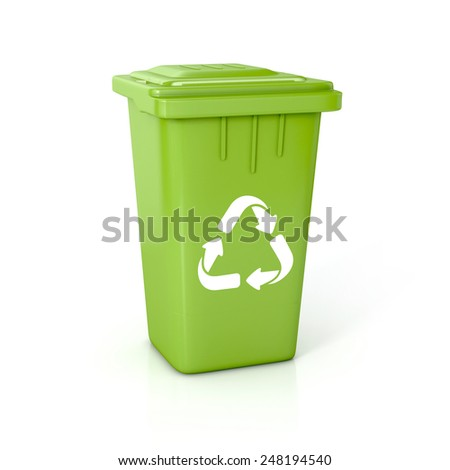 Recycle bin with recycle sign. 3d illustration isolated on white.