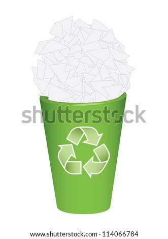 recycle  bin with waste papers