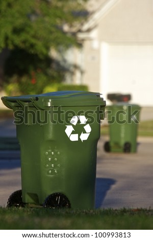 Recycle bins on the curb on residential street
