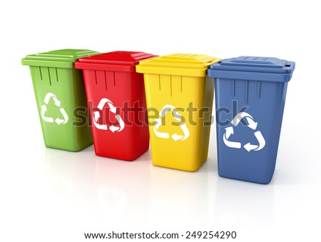 Recycle bins with recycle sign. 3d illustration isolated on white.  - stock photo
