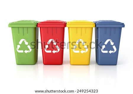 Recycle bins with recycle sign. 3d illustration isolated on white.