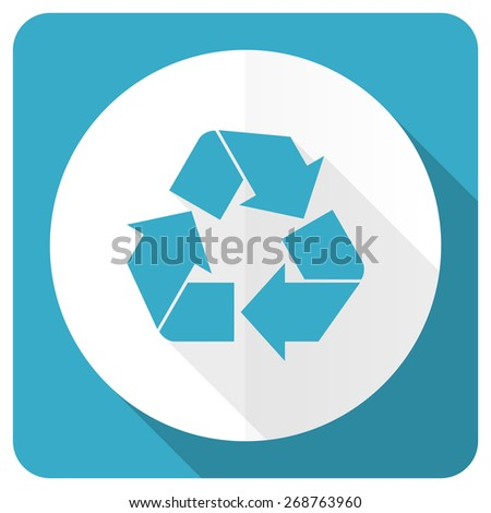 recycle blue flat icon recycling sign  - stock photo