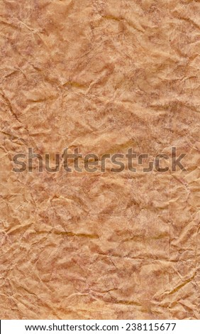 Recycle Brown Kraft Paper Bag, coarse grain, crumpled, bleached, mottled grunge texture detail.