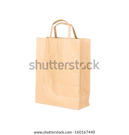 Recycle brown paper bag, closeup on white