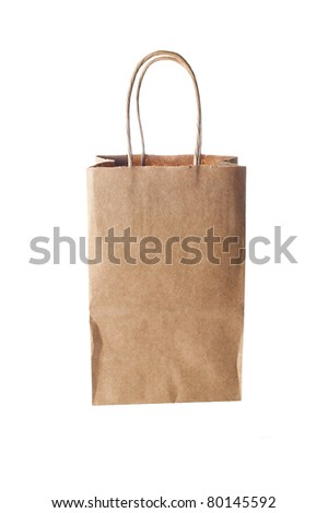recycle brown paper bag on a white background