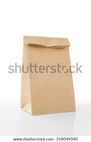 Recycle Brown Paper Bag with Copy Space on White ,Clipping path included - stock photo