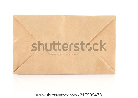 recycle brown paper envelope isolated on white background