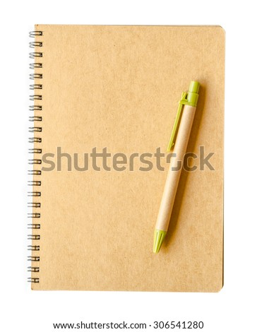 Recycle brown paper notebook and pen on white background. - stock photo