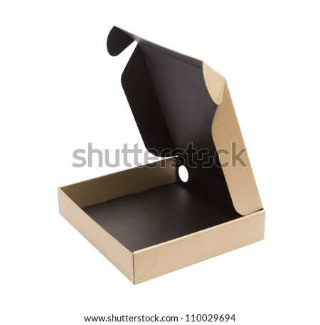 Recycle Cardboard box package front view with isolated on white background - stock photo