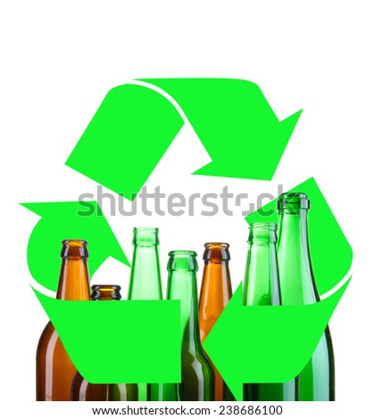 Recycle concept, glass for recycle isolated on white - stock photo