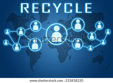 Recycle concept on blue background with world map and social icons. - stock photo