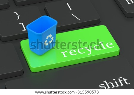 Recycle concept on green keyboard button  isolated on white background