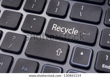recycle concepts, with a message on enter key of keyboard.