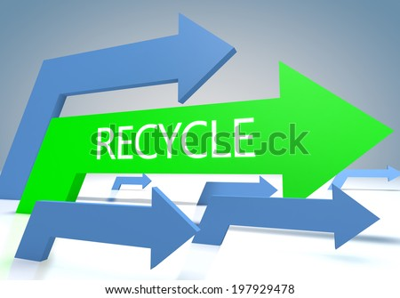 Recycle 3d render concept with green and blue arrows on a bluegrey background. - stock photo