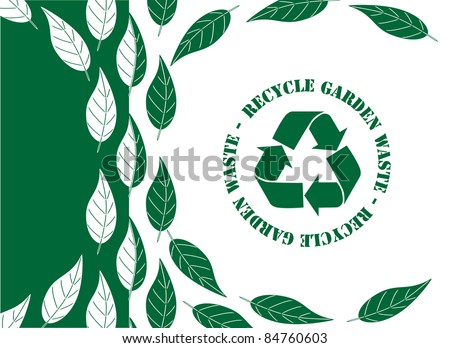 Recycle garden waste concept. Simple green and white leaf design with recycle symbol. Also available in vector format. - stock photo