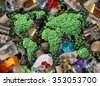 Recycle global rubbish for the environment and garbage concept or recycling waste management icon with old paper glass metal and plastic household products to be reused helping with conservation. - stock vector