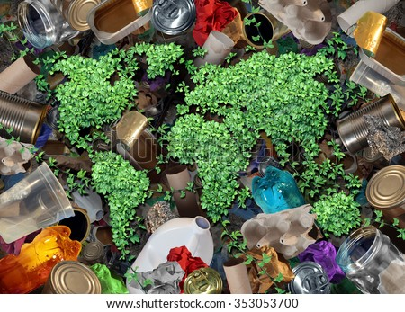 Recycle global rubbish for the environment and garbage concept or recycling waste management icon with old paper glass metal and plastic household products to be reused helping with conservation. - stock photo