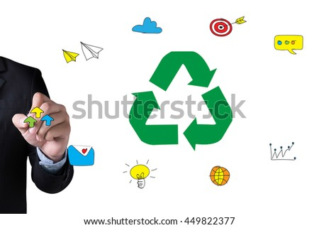 Recycle Green bio eco forest saving environment harmony ecosystem conservation csr esg campaign and Businessman drawing Landing Page on white background