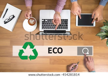 Recycle Green bio eco forest saving environment harmony ecosystem conservation csr esg campaign man touch bar search and Two Businessman working at office desk and using a digital touch screen tablet  - stock photo