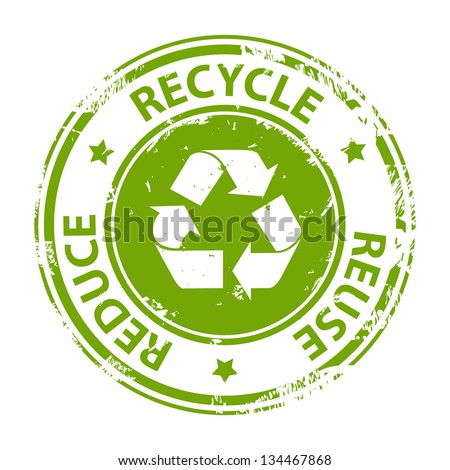 Recycle green emblem or symbol with text recycle, reuse, reduce - rubber stamp isolated on white background - stock photo