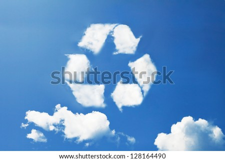 Recycle icon cloud shape - stock photo