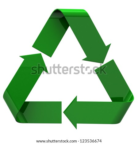 Recycle icon, 3d image - stock photo