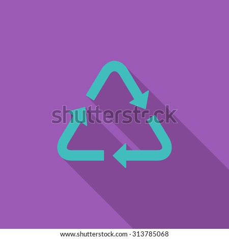 Recycle icon. Flat related icon with long shadow for web and mobile applications. It can be used as - logo, pictogram, icon, infographic element. Illustration. - stock photo